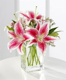 Pink stargazer lilies and greenery in a low glass vase.
