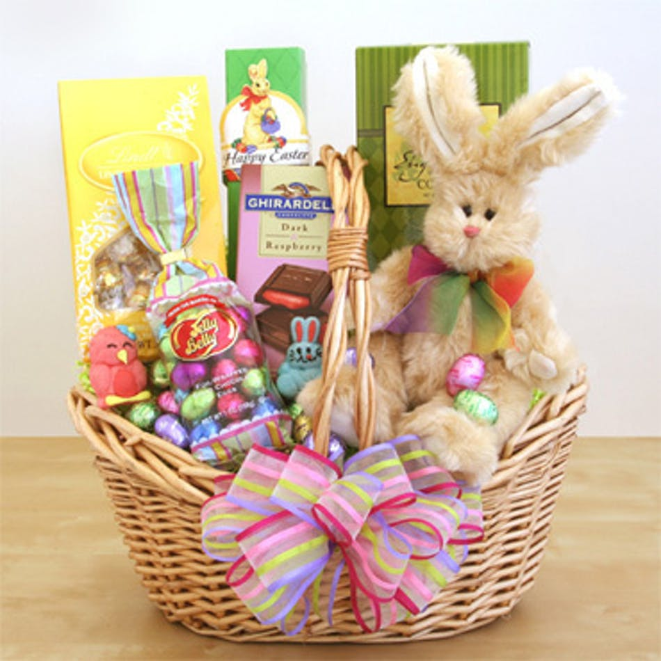 Wilmington easter basket delivery sweets treats easter basket filled with chocolate and a stuffed bunny toy negle Choice Image