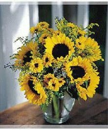 Sunflowers and greenery in a clear glass vase.