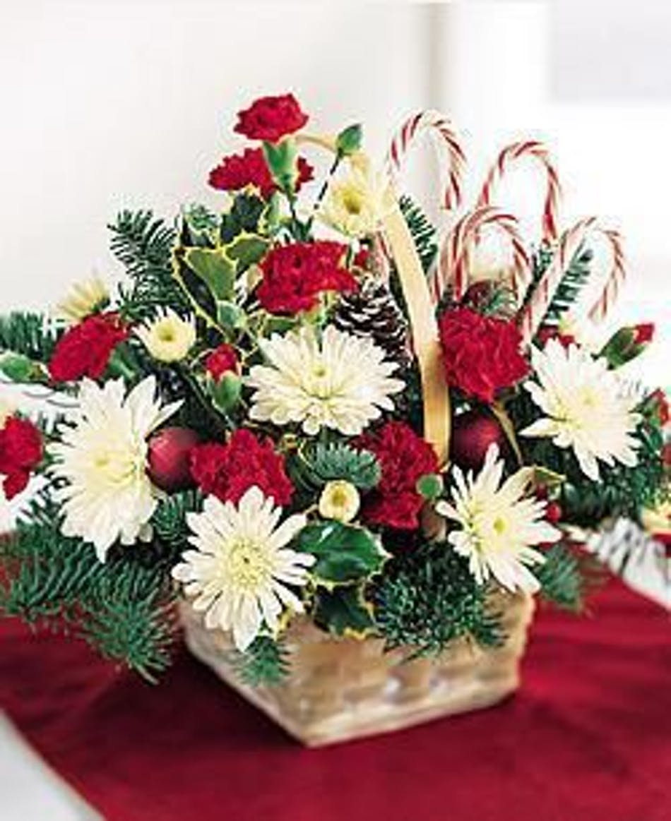 Candy Cane Delight: Basket of Holiday Flowers includes Real Candy ...