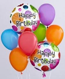 Bouquet of Happy Birthday balloons.
