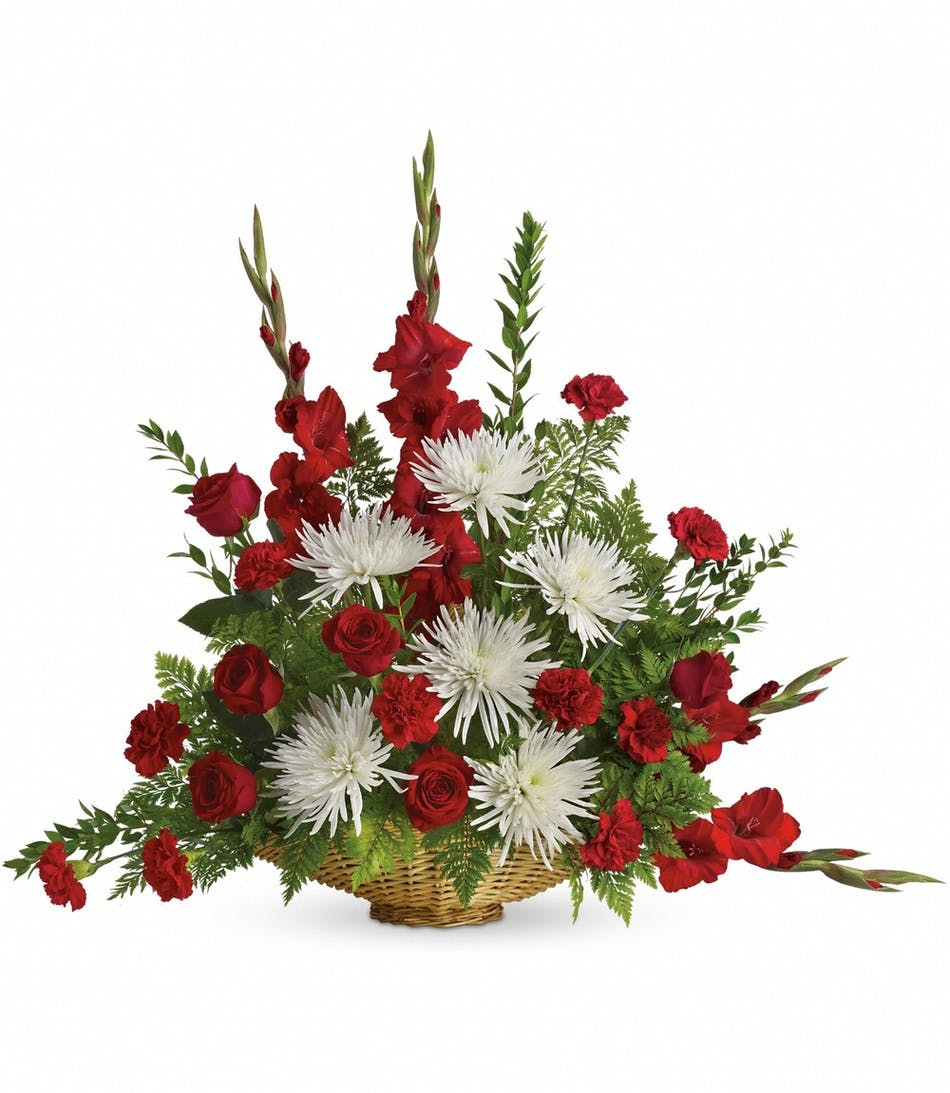 Enduring Grace Traditional Funeral Basket By Julias Florist