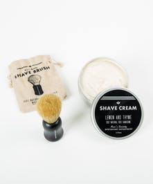 Shave cream and brush set by Men's society.
