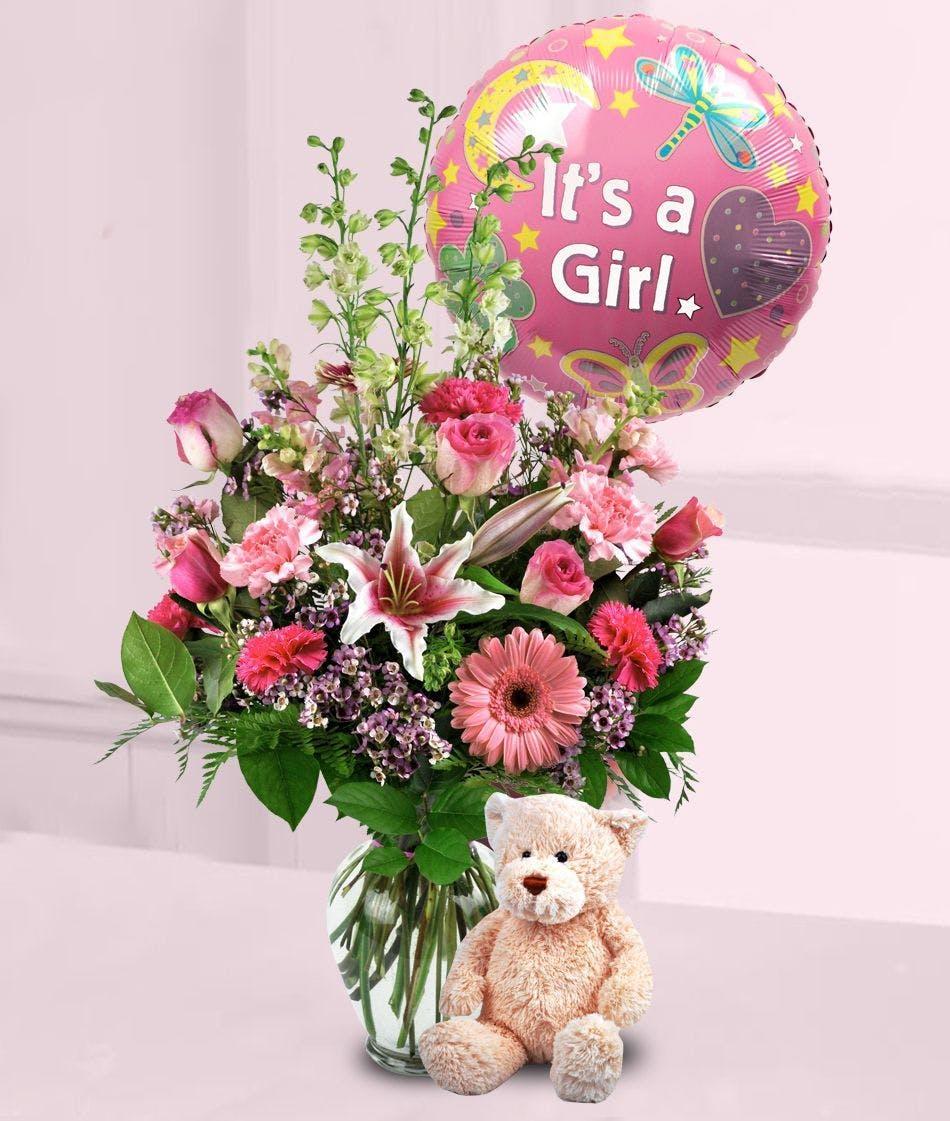 Baby Girl Surprise: Balloon, Flowers & Plush Bear Gift
