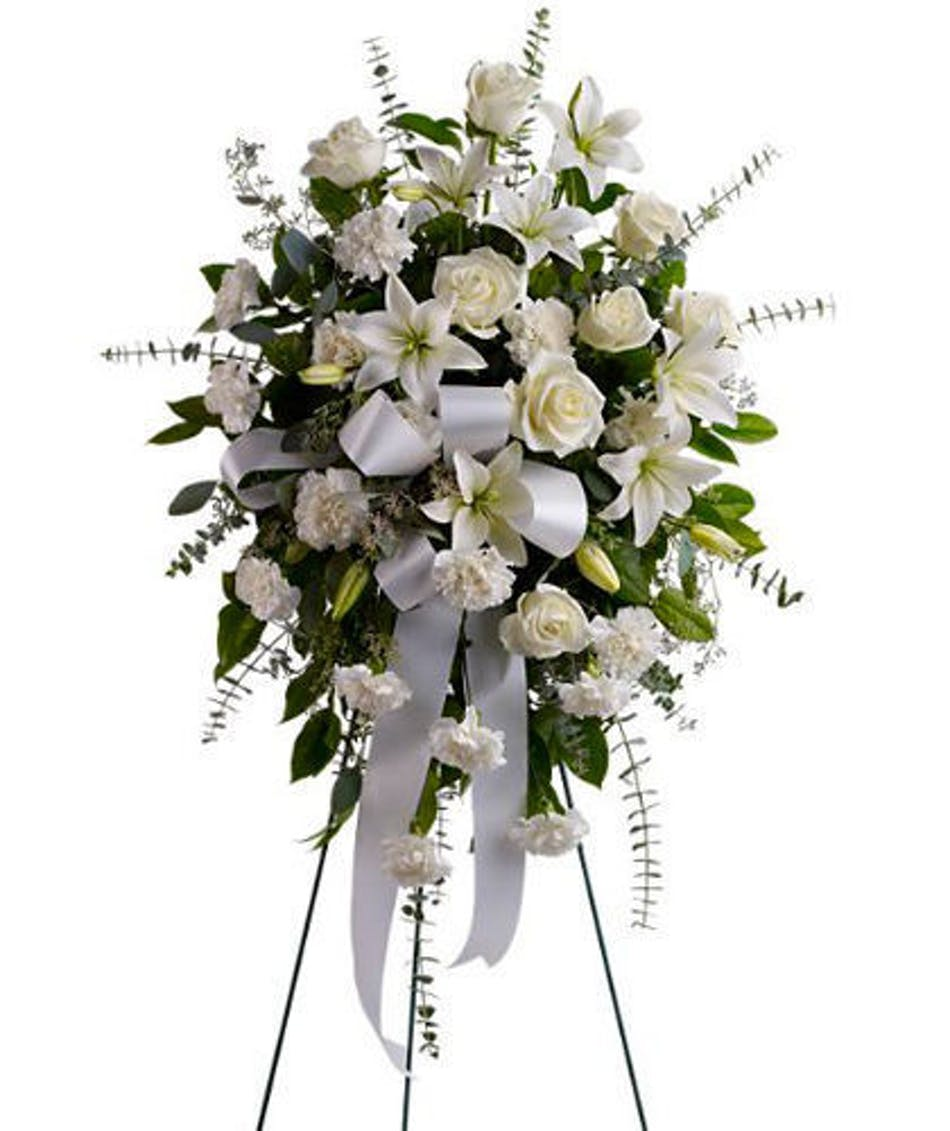 Serenity Spray All White Sympathy Flowers For Funeral
