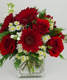 Red and white flowers in a clear glass cube vase with winter greenery