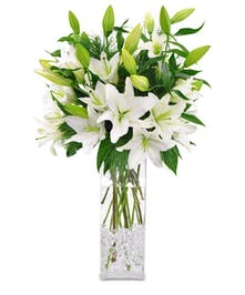 Tall vase of Oriental lilies in white.