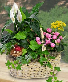 Basket filled with blooming plants and a bird's nest decoration.