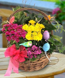 Basket filled with blooming flowers in pink, yellow and purple.