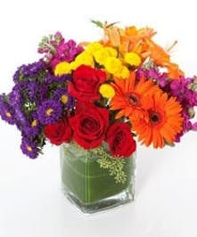 Bold red, yellow, orange and purple flowers in a leaf-lined cube vase.
