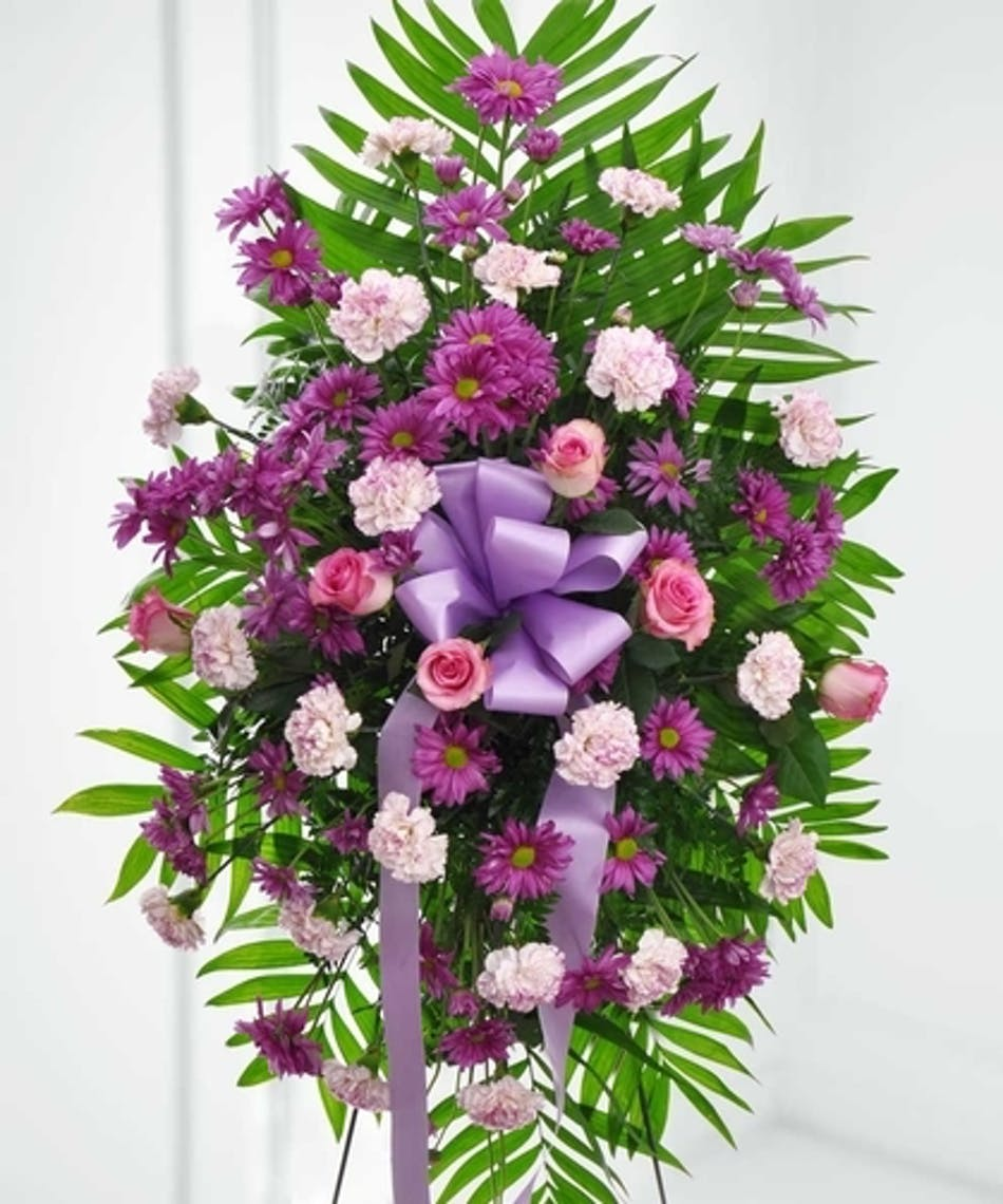 Royal Serenity Purple Funeral Flower Tribute Spray