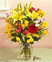 Cut flowers arranged in beautiful autumn colors