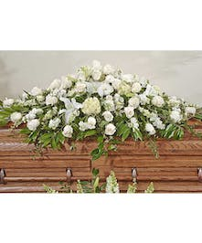 Elegant White Casket Displays