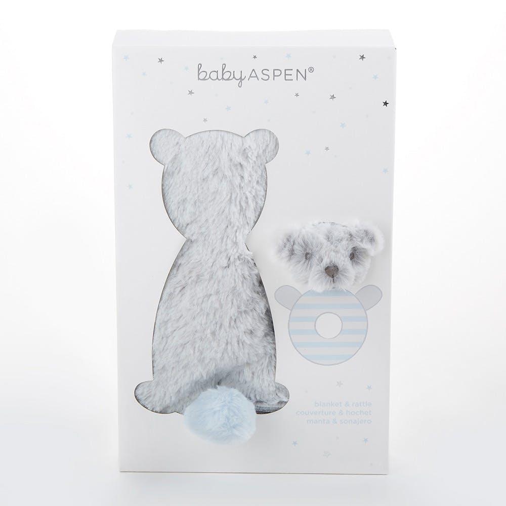 Muslin Blanket Polar Bear Rattle Set