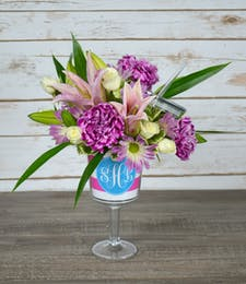 Custom Wine Glass with Flowers